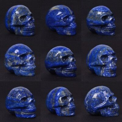 "Carved Blue lapis skull statue figurine Collectible 1.9""-2"""