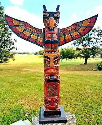 "Intricate Handcarved Wood 20"" X 4 Inch Totem Pole With Detachable Wings"