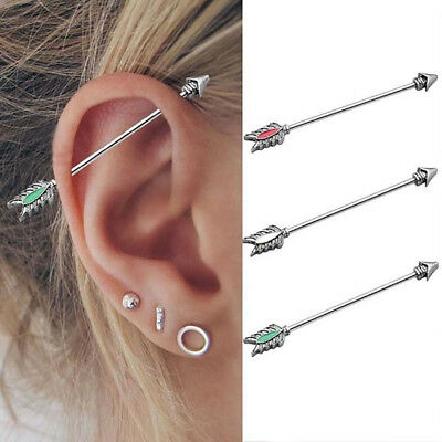 Punk Stainless Steel Long Arrow Industrial Scaffold Ear Piercing Bar Barbell NEW