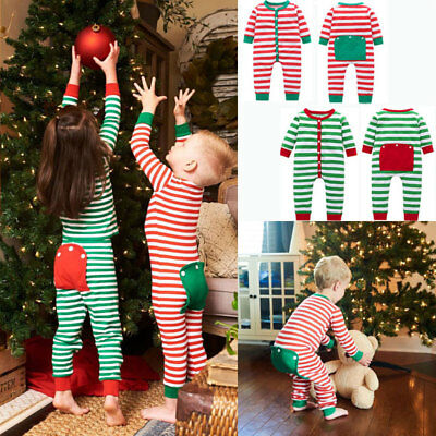 Toddler Kid Boys Girls Clothes Christmas Jumpsuit Xmas Stripe Romper  Outfits