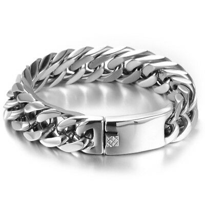 """15mm 8.5"""" New Heavy Stainless Steel Silver Mens Curb Cuban Chain Bracelet Bangle"""
