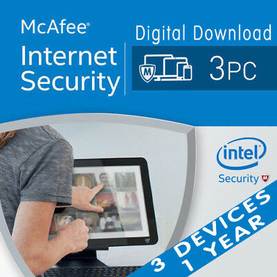 McAfee Internet Security 2018-2019 Anti Virus Software 1 Year Licence 3 Users/PC