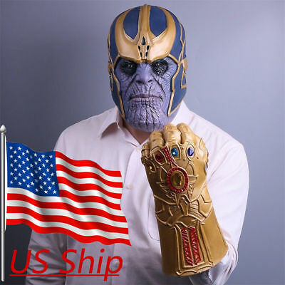 US SHIP Avengers Infinity War Thanos Gauntlet Glove AND Mask! PRIORITY 2-3 SHIP!