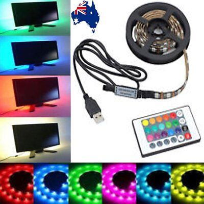 LED Strip Light Color Change USB Waterproof Background Lighting+RF Remote-0.5~5M