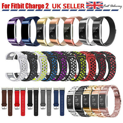 For Fitbit Charge 2 Replacement Band Strap Stainless Steel / Silicone / Leather