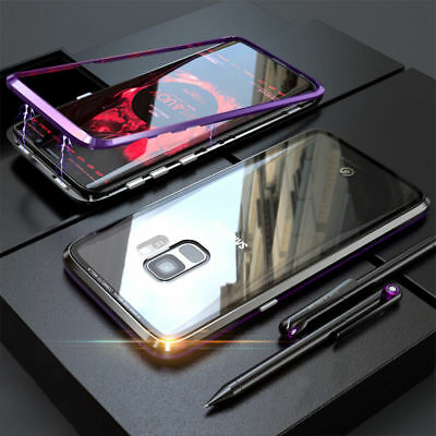 For Samsung Galaxy S8 S9Plus Magnetic Adsorption Metal Tempered Glass Case Cover
