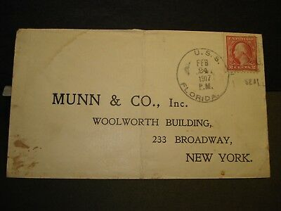 USS FLORIDA BB-30 WWI Naval Cover 1917 BATTLESHIP to Broadway in NY