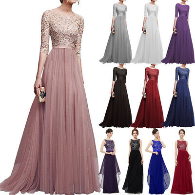 Womens Chiffon Lace Formal Bridesmaid Evening Party Maxi Dress Prom Long Gown AU