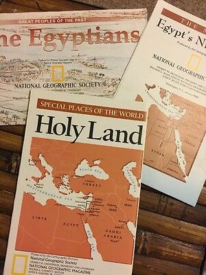National Geographic Maps/Inserts Egypt Egyptians Holy Land 3 in lot