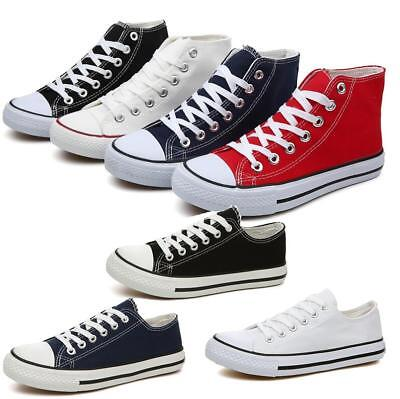Unisex Canvas Shoes Casual Sports Lace Up Flat Pumps Trainers Low Top Shoes