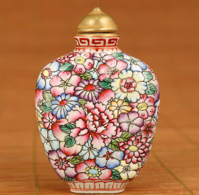 Antique Rare Old Porcelian Hand Carved Plating peony Statue Snuff bottle