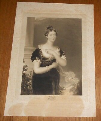 1822 Antique Print of Princess Charlotte Augusta of Wales - large engraving