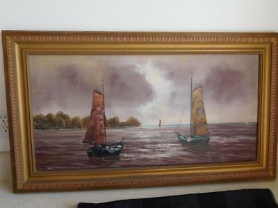 Antique Old OIL PAINTING on CANVAS vintage SAIL BOAT water STORMY signed PICKLER