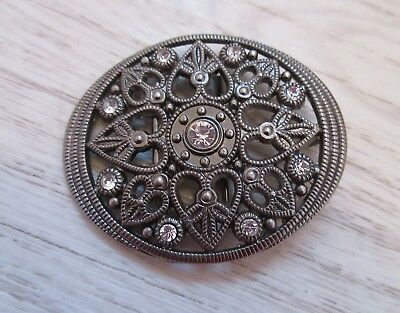 large Pewter belt buckle with crystal gems country and Western