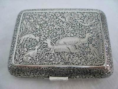 Stunning Antique Middle Eastern Silver Profusely Decorated Cigarette Case.