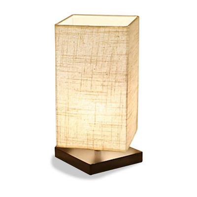 Simple Table Lamp Bedside Desk Light Fabric Shade Solid Wood Bedroom Lighting US