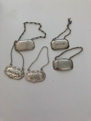 3 Sterling Silver Decanter Label Tags 1 Plated ,1 Unmarked (5)