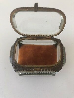 Antique French Beveled Glass Jewelry Ring Box  #3 Miniature