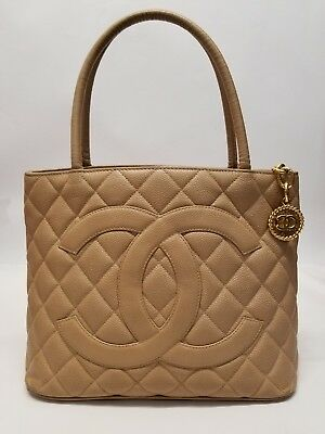 6e741d610971 Authentic CHANEL Medallion Quilted CC Hand Tote Beige Caviar Leather Bag