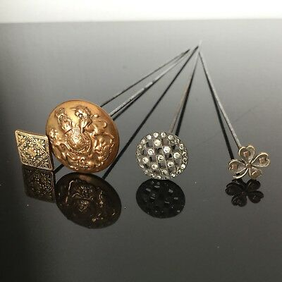 Lot 4 Epingles Pics A Chapeau Anciens Damsquiné- Antique Batch Hat Pins n°8