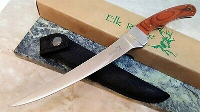 "7"" blade Elk Ridge Fixed Blade Fillet Knife with Laminated Wood handle w/ Sheath"