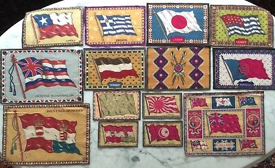 Tobacco Felt Lot 14 Different Countries Flags Cigar Cigarette 1900's