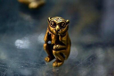 Ancient Chinese Rare Brass Handwork Little Monkey Collectible Old Statue