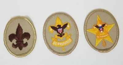 Lot of 3 - BSA Boy Scouts of America Rank Badges Eagle Shield Star Oval Patches