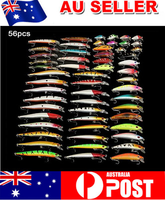 56pcs 10cm Fishing Lures Bulk with #6 Hook Murray Cod Bream Minnow Freshwater