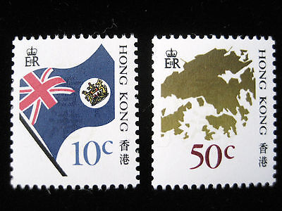 Complete set of 2 stamps - 1987 Hong Kong Flag and Map - MNH