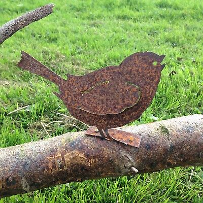 Beautiful Rusty Metal Chirping Bird Fence Post Topper