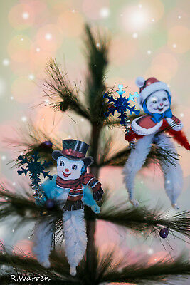 Vintage Inspired Christmas Chenille Feather Tree Ornaments Mr & Mrs Snowmen Set