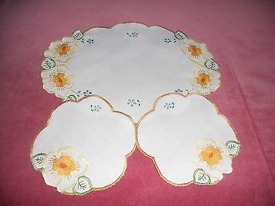 Vintage white Irish linen set of 3( pair doilies& table tray) hand embroidered