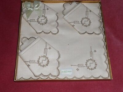 Vintage NEW boxed cream IRISH LINEN with label SET of 4 NAPKINS made in IRELAND