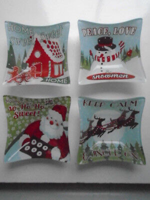 Set of 4 Christmas Designs Glass Bowls/Dishes New