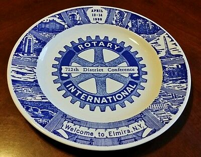 Rotary International Plate 712th District Conference 1958 Elmira NY 10 Inch VTG