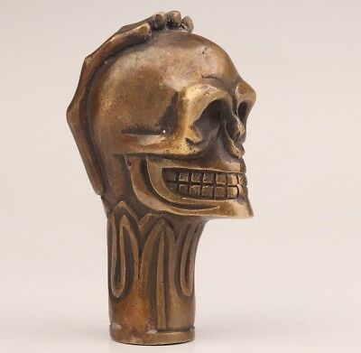 Custom Bronze Statue Old Hand Skull Crutch Cane Walking Stick Head Grip