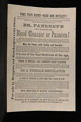 Pa: Philadelphia 1872 Dr Fahrney Blood Cleaner Medical Cure Cover + Content
