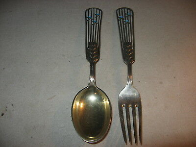 Anton Michelsen Denmark Sterling Silver Annual Christmas Fork & Spoon 1937