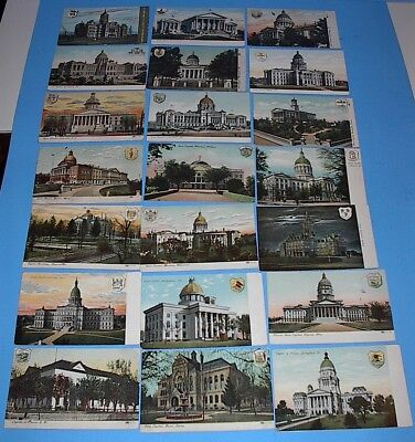 Vintage Postcard Lot Of 47 State Capital Buildings With Seals Un-Posted Clean