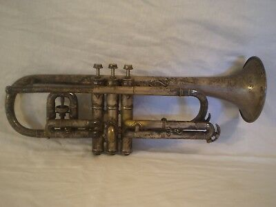 Antique Victor New Wonder Cj Conn Silver Plated Trumpet - Need Repairs