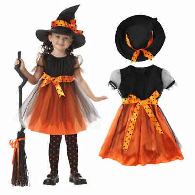 Kinder Mädchen Hexenkostüm Halloween Hexe Witch Kleid & Hut Set Party Karneval