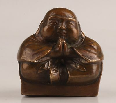 Ancient Chinese Old Bronze Hand Carving Buddha Statue Ornament Figure