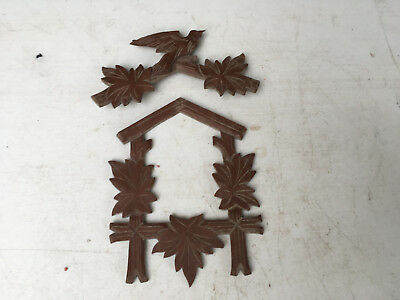 Vintage Small Brown Cuckoo Clock Front Panel and Crest for Parts / Repair  CC20
