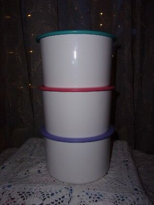 tupperware 3 pc white w pink purple turquoise lids one touch canisters # 2708A