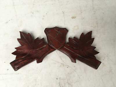 Vintage Small Mahogany Shield Cuckoo Clock Crest for Parts / Repair  CC22