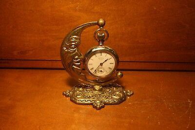 Antique French Bronze MAN ON THE MOON Pocket Watch Holder Circa 1880,s