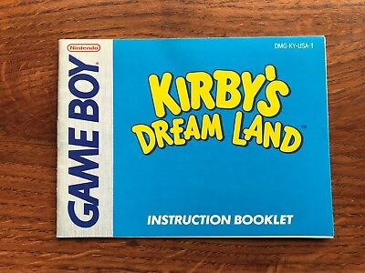 Kirby's Dream Land Original Nintendo Gameboy Instruction Manual Only