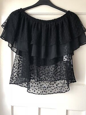 09d40a42496d19 Zara Black Semi Sheer Star Print Frilled Off-The-Shoulder Top Size S