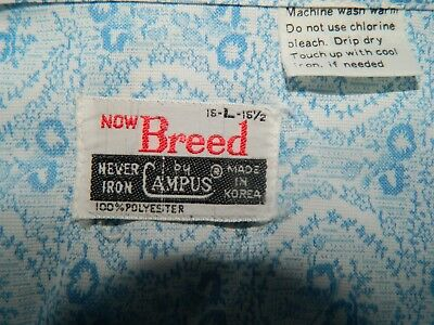 NEW NOS VTG MENS DRESS SHIRT DEADSTOCK 70s BIG COLLAR POLYESTER BREED by Campus